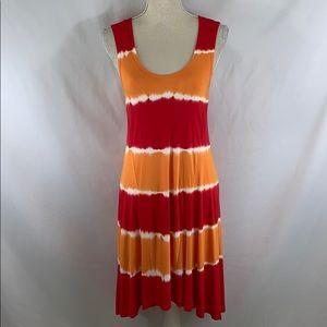 Calvin Klein orange & red high low tie dye dress